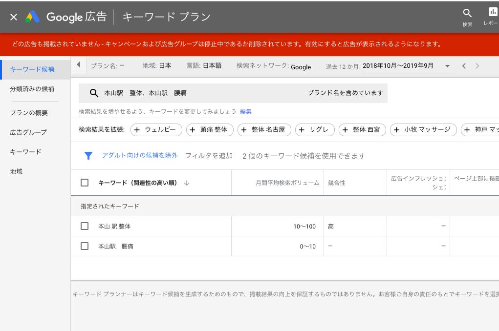 駅名の検索ボリュームの画面